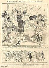 PARIS HAUSSMANN LE VIN MARIANI COCA PUBLICITE GRAVURE ENGRAVING 1880
