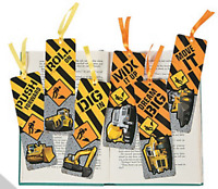 Pack of 12 - Construction Bookmarks - Teacher Supplies Party Bag Fillers