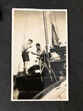 Vintage BW Real Photo #BX: Bare Chested Men On Sailboat