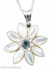 Sterling Silver And Pearl Pendant Necklace with Topaz Centre