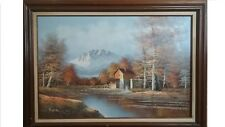 Large landscape Oil painting canvas H. Wilson Old mill water wheel Vintage art