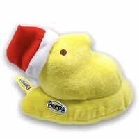 Peeps Yellow Plush Chick Christmas Red Santa Hat 5in Stuffed Toy