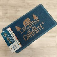New Life is Better at the Campsite Blue 1.5' by 2.5' Rectangular Rubber Door Mat