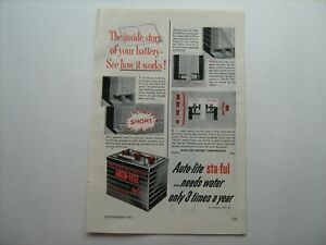 """1951 """"AUTOLITE Sta-Ful Battery"""" for FoMoCo cars/trucks vintage ad from estate-51"""