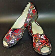 Vtg Black Red Peep Toe 6 6.5 Floral Asian Chic Boudoir Slippers Shoes Vlv Pug