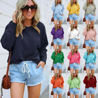 Women Long Sleeve Pullover T-shirt Ladies Loose Casual Tops Jumper Blouse Basic