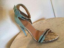 """LAMB """"Jazmyn"""" Sky Blue Leather Sport Sandal Stiletto Heels US Women's Size 10 M"""