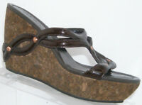 Cole Haan brown leather D21684 slip on sandal cork wedge platforms 7B 5541