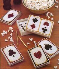 PLAYING CARD SET NOTE PAD & CARD HOLDER PLASTIC CANVAS PATTERN INSTRUCTIONS