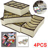 4x Foldable Underwear Storage Organiser Bra Socks Organizer Box Drawer Dividers