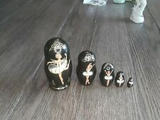 """Matryoshka Hand Painted Nesting Doll Russian Ballet 5 ps Largest 4"""" Signed"""