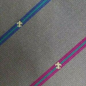 Gray Pink Bue Crest Striped Silk Tie