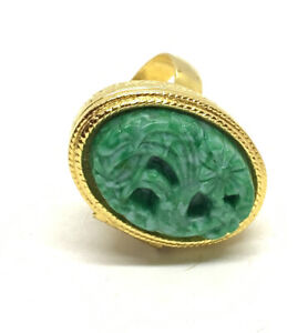 Vtg Avon Poison Ring Faux Green Jade Solid Perfume Compact Adjustable Ring