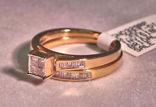 14k Yellow Gold .35ct Diamond Princess Bridal Wedding Engagement Ring Set Size 7