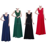 Women Lace V Neck Long Dress Wedding Cocktail Party Evening Prom Bridesmaid Gown