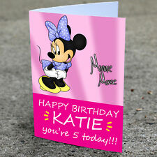 Minnie Mouse Birthday Card - Professionally printed and personalised