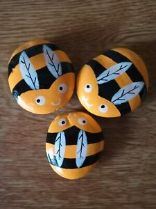 Hand Painted pebbles/stones set of 3 bees