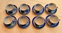 8 Sets - Blue/White Spodes Fitzhugh Copeland England Fine Stone Cups and Saucers