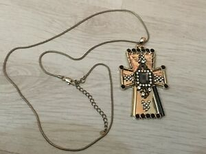 Oasis long silver tone bling crystal huge gothic statement Cross Necklace