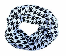 Black Geometric Houndstooth Cotton Blend Classic Infinity Scarf Swoopwear Scarf
