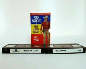 John Wayne in The Lucky Texan and Hell Town VHS 2 x Double Feature Western