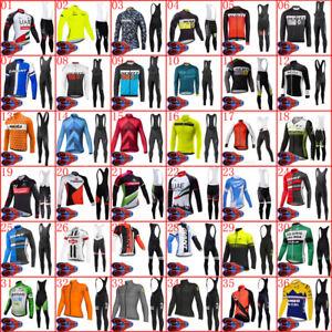 2021 Men Team Cycling Jersey Cycling Long Sleeve Tops Bib Pants Set Bike Outfits
