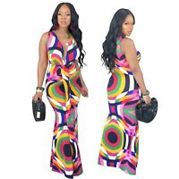 ❤Women Sleeveless Digital Print Casual Pleated Bodycon Cocktail Party Maxi Dress