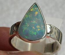 Top Coober Pedy Opal 3.2 Karat 950er Silberring Größe 19,1 mm