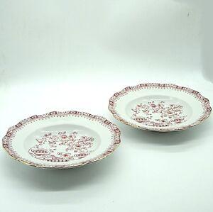2 x Seltmann Weiden China Rot Theresia Suppenteller Teller ca. 22,5 x 4 cm