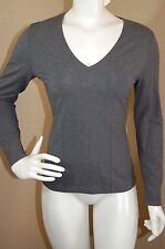 WW by WORTH Gray Extremely Soft Modal V-neck Gray Fitted Long Sleeve Top~P