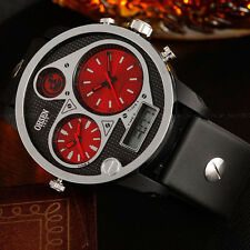 OHSEN Mens Military Water Proof Day Light Red 50mm Case Digit Quartz Wrist Watch