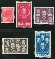 Romania 1952 MNH Mi 1301-1305 Sc 820A,856-859 1848 Revolution.Surcharged **Luxus