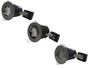 Fire Rated GU10 Black Chrome Ceiling Downlight Spotlights Fixed / Tilt / IP65