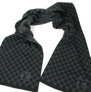 Authentic Louis Vuitton Damier Graphite 100% Wool Scarf