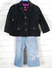 BABY GAP Outfit Set Black Velvet Blazer Jacket & Butterfly Jeans Toddler 18-24M