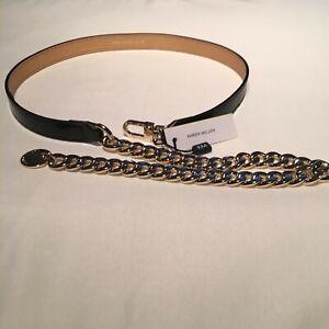 Ladies Karen Millen Designer Gold Chain Leather Belt Size Medium (New) RRP £65!!