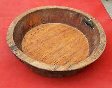 1850's ANTIQUE HEAVY HAND CRAFTED WOODEN SALAD PLATE