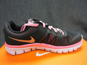 New Nike Flex 2014 RN (GS) Girls Size 5 Y Youth Running Shoes Black/Pink/Silver