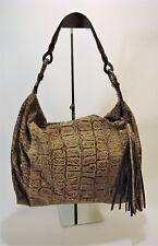 CARLOS FALCHI Large PYTHON SNAKESKIN Taupe Brown Shoulder Hobo Bag Unstructured