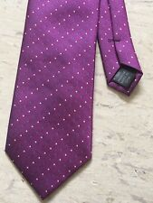 """Thomas Nash purple dotted striped smart polyester tie 3.25"""" wide 57"""" long"""