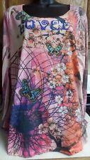 """New Womens sz 2X Top Avenida Azul """"Lovely"""" Butterflies Floral Rhinestones Studs"""