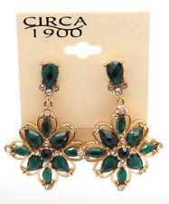 "CIRCA 1900 JEWELRY Goldtone Sunflower with Green Crystal Dangle Earrings 2"""
