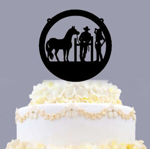 Custom Acrylic Bride And Groom Cowboy And Cowgirl Wedding Cake Topper With Horse
