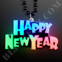12PCS HAPPY NEW YEAR L.E.D. LIGHT UP CHARM ON BEADED NECKLACE