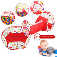3 in 1 Kids Crawl Tunnel Tent Foldable House Pop-up Play Tent  w/Storage Bag