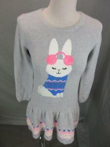 NWT Gymboree Size 10 Girls Gray 100% Cotton Bunny Knitted Sweater Dress T422