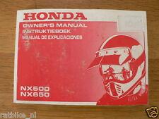 HONDA NX500/NX650 OWNERS MANUAL ORIGINAL 1990 NX 500,NX 650 INSTRUKTIEBOEK