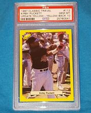 1987 CLASSIC TRAVEL UPDATE YELLOW #112 KIRBY PUCKETT YELLOW BACK  PSA 10  N00-92