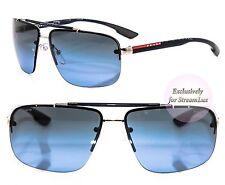 PRADA Square Aviator Sunglasses SPS 52O 1BC-5I1 Black Blue Grey Lenses