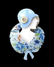 New Lucite Flapper Lady Blue Cloche Hat Stole Arts Vintage Deco Pearlized Brooch
